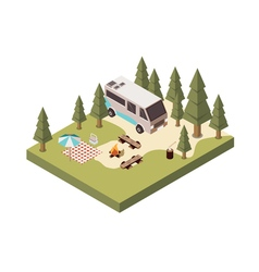 Campsite In Forest Isometric Design vector image