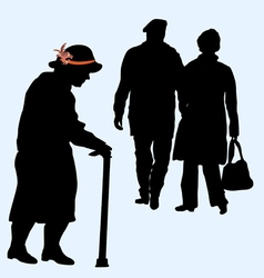 couples silhouettes running and an old woman vector image vector image