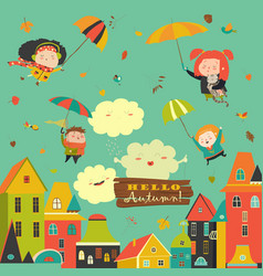 happy kids flying with umbrellas under the city vector image vector image