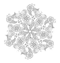 Mendie Mandala with butterflies flowers and vector image vector image