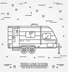 RV camper trailer thin line Camping RV trailer vector image