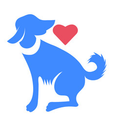 Silhouette of blue dog with red heart isolated vector