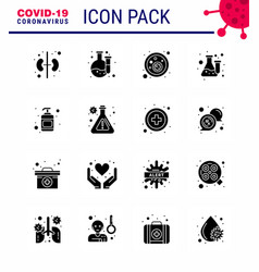 16 solid glyph black coronavirus epidemic icon vector image