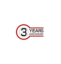 3 years anniversary with circle outline red color vector
