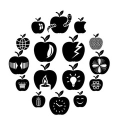 apple logo icons set simple style vector image