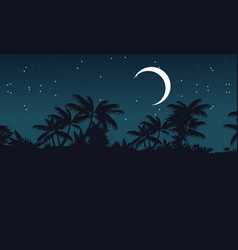 At night jungle with palm tree silhouette vector