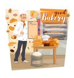 bakery shop baker holding menu of pastry food vector image