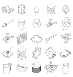 Beekeeping icons set isometric 3d style vector image