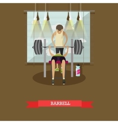 Bench press using a barbell Man working out in vector