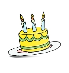 birthday cake with three lit candles vector image