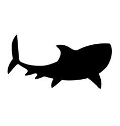 black silhouette shark giant apex predator cartoon vector image