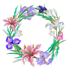 Botanical lily and iris wreath frames vector