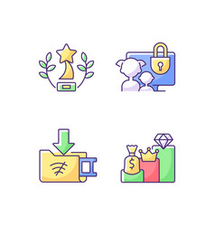 broadcast services rgb color icons set vector image