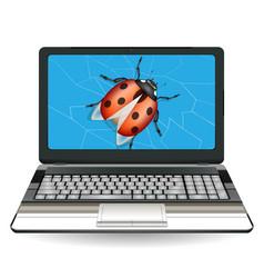 broken laptop computer destroy a bug vector image