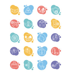 Bundle covid19 set icons vector