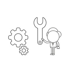 businessman character holding spanner to gears vector image