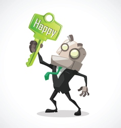 businessman key happy vector image