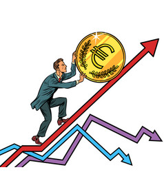 businessman roll a euro coin up vector image