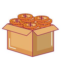 carton box with coins vector image