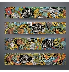 Cartoon cute doodles travel banners vector image