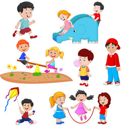 cartoon kids playing vector image