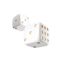 Casino white dice on white background online vector
