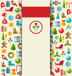 Christmas Card with Flat Icons on Beige vector image