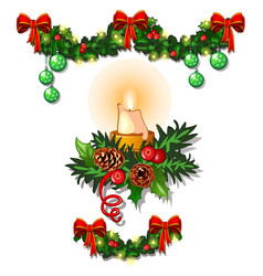 christmas sketch with decorations of twigs vector image