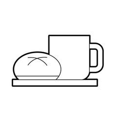 Coffee cup bun bread dish breakfast food fresh hot vector