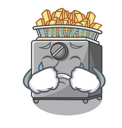 Crying cooking french fries in deep fryer cartoon vector