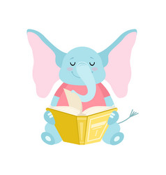 Cute elephant sitting and reading book funny vector