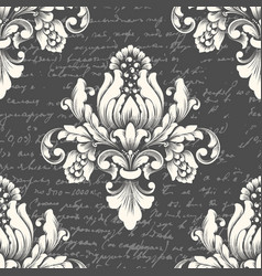Damask seamless pattern element with ancient text vector