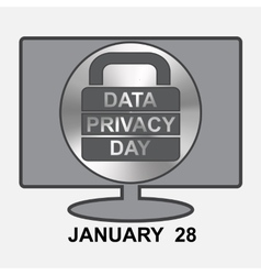 Data Privacy Day Computer with sign lock vector