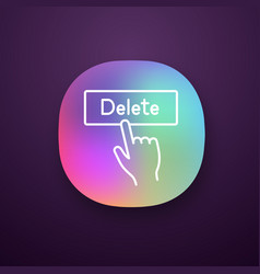 Delete button click app icon vector