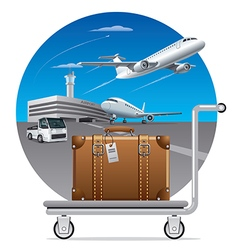 deliveryluggage suitcase vector image