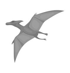 Dinosaur Pterodactyloidea icon in monochrome style vector