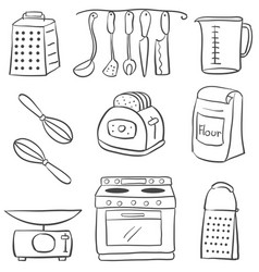 Doodle of kitchen various object vector