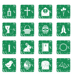 Easter items icons set grunge vector