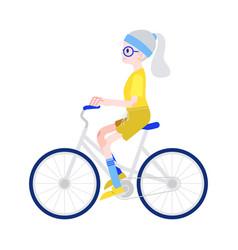 elderly woman riding bike vector image
