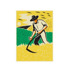 Farmer With Scythe Harvesting Field Retro vector