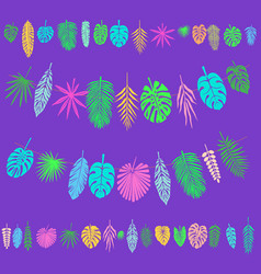 festive and party decoration with tropical leaves vector image