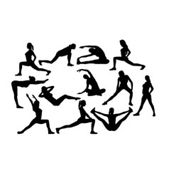 fitnees girl silhouettes vector image