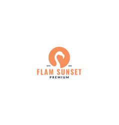 Flamingo bird pink silhouette circle logo design vector