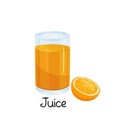 glass orange juice vector image