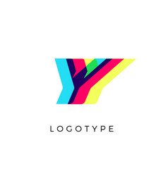 Glitch effect letter y colored spectrum overlay vector