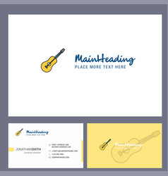 guitar logo design with tagline front and back vector image