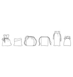 Hand drawn zero waste eco bags for shopping vector