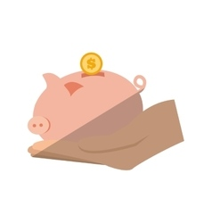 Hand holding piggy coins money save flat icon vector