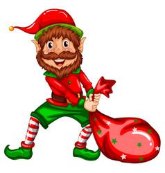 happy elf carry sack vector image