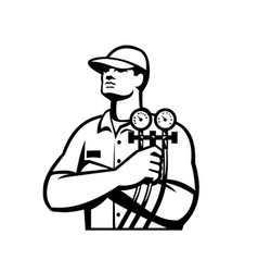 Heating and cooling refrigeration technician vector